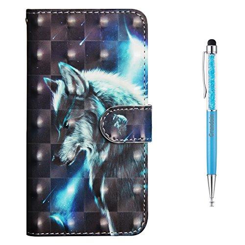 Grandoin iPhone 5 /5S /SE Hülle, Handyhülle im Brieftasche-Stil für Apple iPhone 5 /5S /SE Handytasche PU Leder Flip Cover 3D Bunte Muster Book Case Schutzhülle(Wolf)