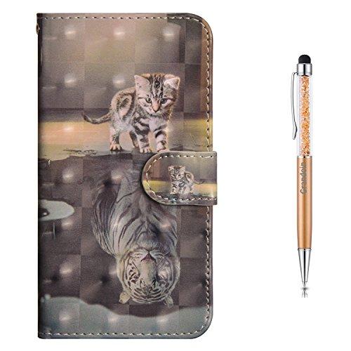 Grandoin iPhone 6S Plus Hülle,iPhone 6 Plus Hülle, Handyhülle im Brieftasche-Stil für Apple iPhone 6S /6 Plus 5.5 Zoll Handytasche PU Leder Flip Cover 3D Bunte Muster Book Case (Katze und Tiger)
