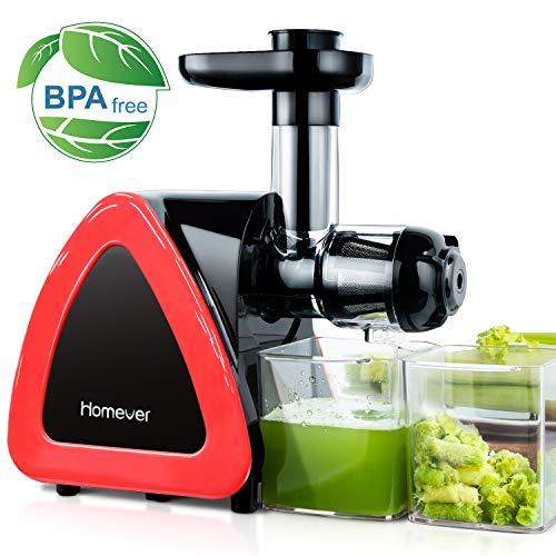 Homever Slow Juicer Entsafter, Entsafter Obst und Gemüse, Saftauffangbehälter und Reinigungsbürste, Kauen entsafter mit Ruhiger Motor und Umkehrfunktion, BPA-frei