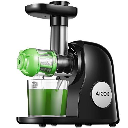 Slow Juicer, Aicok BPA-frei Entsafter Gemüse und Obst mit 2 Filter, Leistungsstarker Ruhiger Motor & Umkehrfunktion & Saftkanne & Reinigungsbürste, Leicht zu Reinigen, Rezepte
