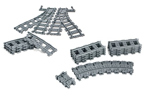 Modbrix 30 teiliges City Bausteine Schienen Set bestehend aus Flexible Schienen und Weichen, kompatibel mit L*go