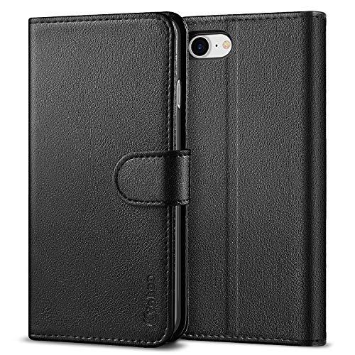 Vakoo iPhone 8 Hülle, iPhone 7 Hülle, Wallet Case Flip Cover Handytasche Kompatibel mit iPhone 8, Schutzhülle Handyhülle für Apple iPhone 8/7 - Schwarz