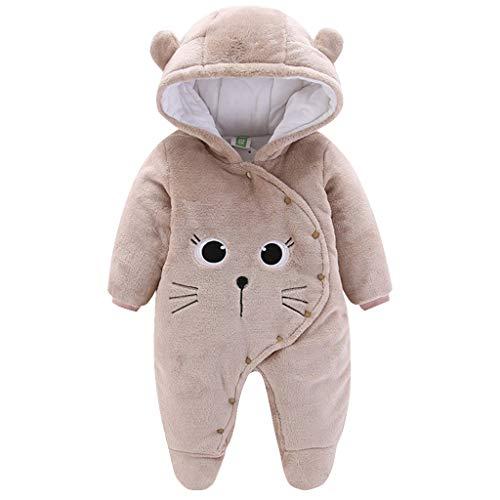 Baby Winter Fleece Overall Mit Kapuze Mädchen Jungen Schneeanzüge Warm Strampler Outfits Khaki 3-6 Monate (66)