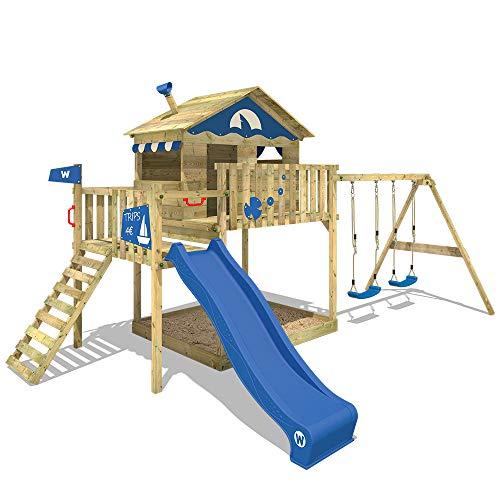 WICKEY Spielturm Smart Coast Kletterturm Spielhaus auf Podest mit Doppelschaukel und Rutsche, großem Sandkasten und Kletterleiter