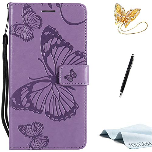 TOUCASA Huawei P10 Lite Handyhülle,Huawei P10 Lite Hülle, Brieftasche flip PU Leder ledercaseHülle Kartenfächer [3D Butterfly] [3D Schmetterling] Embossed Technology fürHuawei P10 Lite-(Lila)