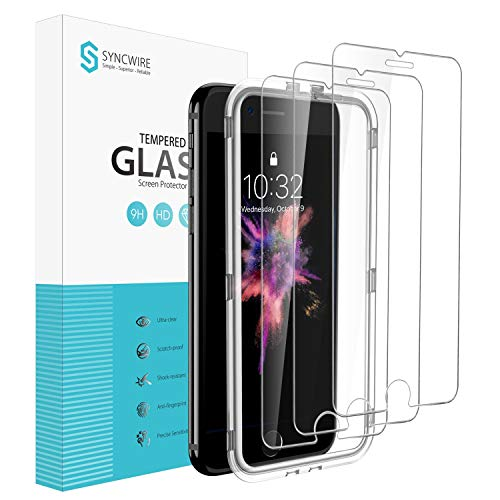 Syncwire Panzerglas kompatibel mit iPhone 7 iPhone 8, [3 Stück] 3D-Touch Blasenfrei SyncProof HD Panzerglasfolie 9H-Härte Anti-Bläschen Displayschutzfolie Schutzfolie für iPhone 7 iPhone 8