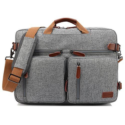 CoolBELL 15.6 Inch umwandelbar Aktentasche Messenger Bag Rucksack Umhängetasche Laptop Tasche Business Backpack Multifunktions Reise Rucksack Passend für 15-15,6 Zoll Laptop/Männer/Frauen,Grau