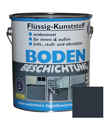 Flüssig Kunststoff 5L Bodenbeschichtung 50m² Betonfarbe Beton Beschichtung (Anthrazitgrau)