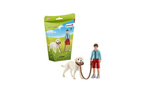 Schleich 42478 Farm World Spielset - Spaziergang mit Labrador Retriever, Spielzeug ab 3 Jahren