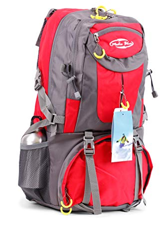 Mediablue 50L Bergsteigen Backpack Outdoor Leicht Rucksack Klettern Wanderrucksack Reise Sport Tagesrucksack Camping Trekkingrucksack Fahrrad (Rot, 50 Liter)