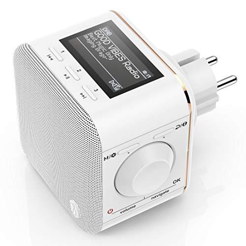 """Hama DAB+/DAB Digitalradio für die Steckdose (DAB/DAB+/FM/Bluetooth/AUX, integr. Radio-Wecker, beleuchtetes Display) Steckdosenradio """"DR40BT-PlugIn"""""""