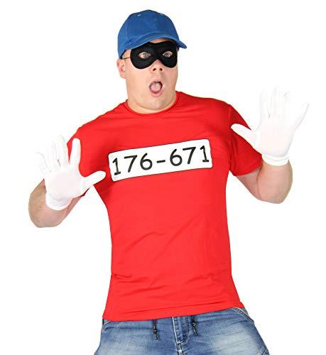 Foxxeo Bankräuber Kostüm für Herren mit - T-Shirt - Maske - Mütze und Handschuhen - Fasching und Karneval Kostüme für Paare, Größe:M/L