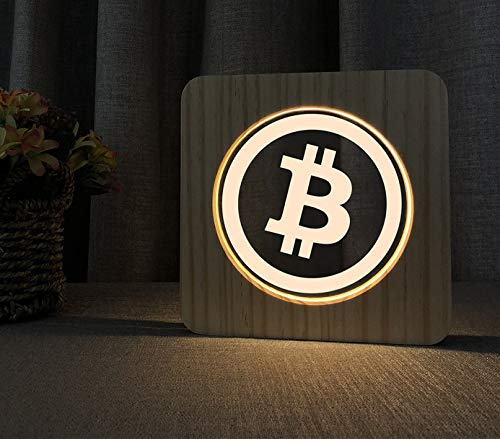 LED Lampe aus Holz im Bitcoin Logo Design - Perfektes Geschenk für Krypto Fans (BTC)
