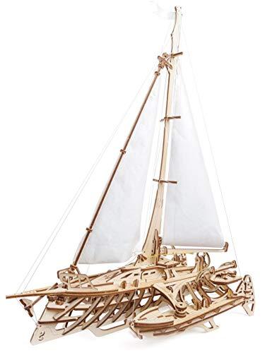 UGEARS 70059 3D Trimaran Merihobus Schiff Segelboot Holzpuzzle Modellbau Set Denkspiel-DIY Puzzle Lernspielzeug Modellbausatz aus Holz,
