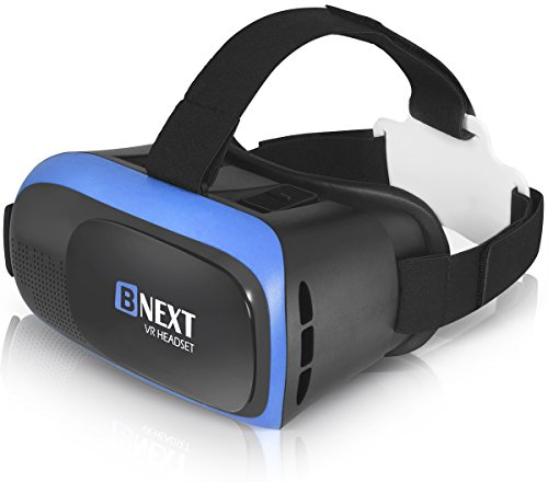 VR-Brille, Virtual Reality-Brille kompatibel mit iPhone & Android [3D Brille] - Erleben Sie Spiele und 360 Grad Filme in 3D mit weicher & komfortabler VR-Brille   Blau   mit Augenschutz
