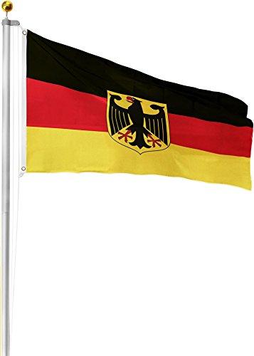 normani Aluminium Fahnenmast inkl. Deutschland Fahne + Bodenhülse + Zugseil - in verschiedenen Höhen wählbar Farbe Deutschland mit Adler Größe 6.20 Meter