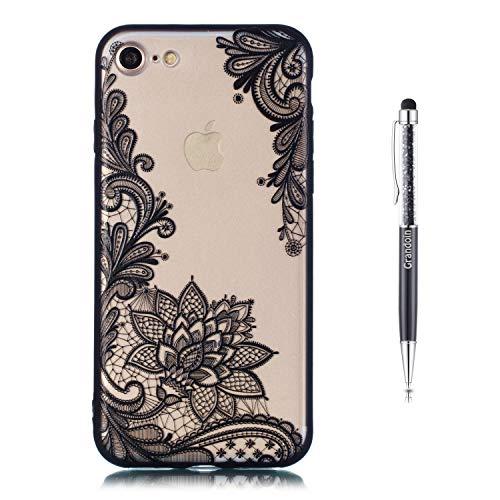 iPhone 8 Hülle,iPhone 7 Hülle,Grandoin 2 in 1 Ultra Dünne Schale Ultra Dünn Weich TPU Bumper Case Silikon Schutzhülle TPU Bumper Schale für Apple iPhone 8 / iPhone 7 (Schwarzer Lotus)