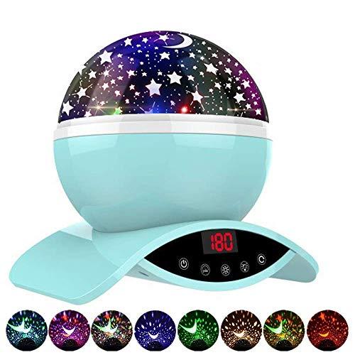 Amouhom Sternenhimmel Projektor Lampe mit Fernbedienung, LED Nachtlicht mit Wiederaufladbare Batterie 360 Drehen und Timing Schlaflicht für Kinders Schlafzimmer Romantische Geschenke für Frauen(Grün)