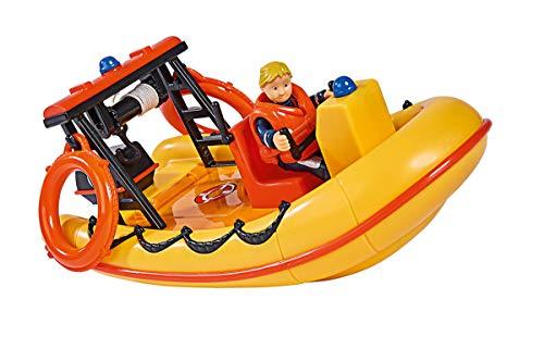 Simba – Feuerwehrmann Sam Neptune Boot, mit Penny Figur im Tauchoutfit, mit Geheimfach und mechanischer Seilwinde, schwimmt auf dem Wasser, 20cm, für Kinder ab 3 Jahren