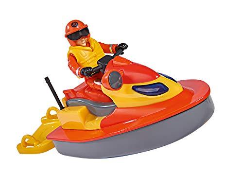 Simba 109251048 - Feuerwehrmann Sam Juno Jet Ski, mit Elvis Figur, Sitzfläche zum Aufklappen, schwimmt auf dem Wasser, für Kinder ab 3 Jahren