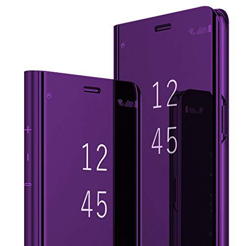 2Buyshop Compatible mit Hülle iPhone XR, iPhone XR Schutzhülle PU-Leder Flip Spiegel Handyhülle iPhone XR 360-Grad-Schutz Tasche mit Standfunktion Ledertasche handytasche (Apple iPhone XR 6,1'', Lila)