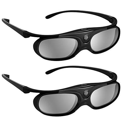 BOBLOV 3D Brille Aktive Shutter Glasses DLP-Link USB Schwarz Für BenQ W1070 W700 Dell Projektor (Schwarz 2Pack)