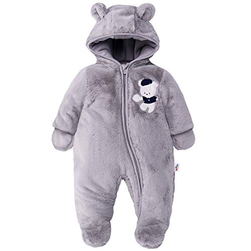 Baby Schneeanzüge Winter Overall mit Kapuze Fleece Strampler Mädchen Jungen Warm Outfits Grau 3-6 Monate