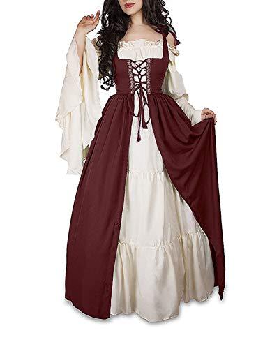Guiran Damen Mittelalterliche Kleid mit Trompetenärmel Mittelalter Party Kostüm Maxikleid rot S