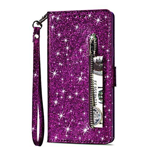Artfeel Reißverschluss Brieftasche Hülle für Samsung Galaxy S9, Bling Glitzer Leder Handyhülle mit Kartenhalter,Flip Magnetverschluss Stand Schutzhülle mit Tasche und Handschlaufe-Lila