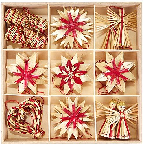 HEITMANN DECO Weihnachtsbaumschmuck Deko aus Stroh - Natur Stroh Baumbehang mit roten Akzenten - 25-teiliges Set - Christbaum Anhänger aus natürlichem Material