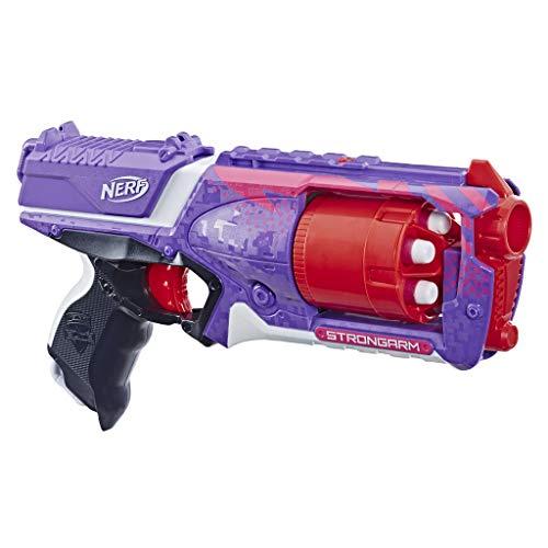 Nerf 0 Strongarm lilafarbener Blaster – Rotationstrommel, Schnellfeuer, 6 Elite Darts – für Kinder, Teenager, Erwachsene