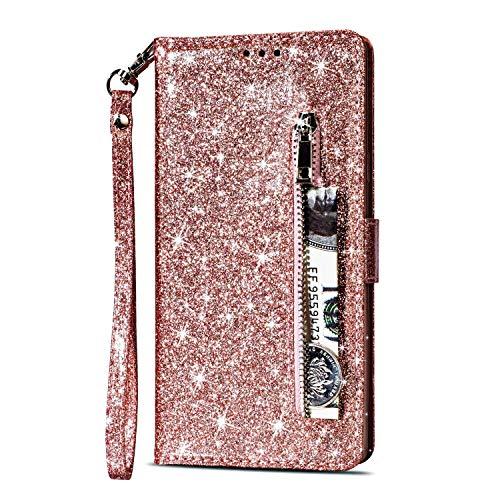 Yobby Glitzer Brieftasche Hülle für Huawei P20, Huawei P20 Roségold Handyhülle Bling Slim Reißverschluss Leder Schutzhülle Flipcase [Stand-Funktion] mit Kartenfach und Handschlaufe