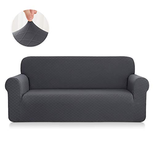 CHUN YI Rhombus Elastisch Sofaüberzug, Sofahusse, Sofabezug für Sofa, Sofaschutz (3-Sitzer, Grau)