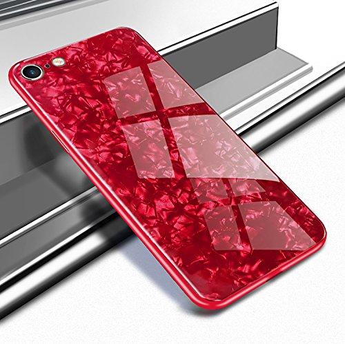 Yobby Glas Hülle für iPhone 7 Plus, iPhone 8 Plus Rot Handyhülle Kristall Funkeln Glitzer Muster Schlank Weich TPU Bumper Schutzhülle Reflektierend Glänzend Spiegel Rückseite