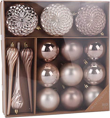 made2trade 15 teiliges Weihnachtsbaumschmuck Set - Braun Gold