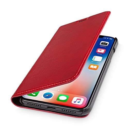 WIIUKA Echt Ledertasche - TRAVEL Italy - für Apple iPhone X und XS - PFLANZLICH GEGERBTES Leder - Rot, kabelloses Laden Qi, extra Dünn, Tasche, Leder Hülle kompatibel mit iPhone X/XS