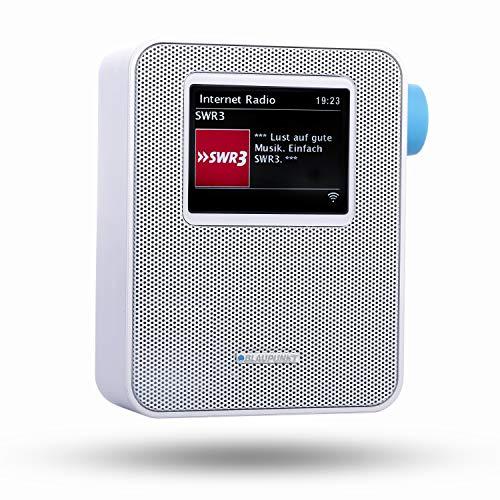 BLAUPUNKT PIB 100 Steckdosen Internetradio, WLAN Empfang, großes Farb-Display, Steckdose Digital Radio mit Bluetooth, Wecker, kleines Steckdosenradio, dimmbar, Senderspeicher, Sleeptimer, Weiß