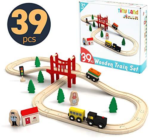 Tiny Land Züge und Holzeisenbahn Pack (39 pcs) Eisenbahn Einsteigerset Passend für Brio Thomas Eichhorn Zugset Kleinkinderspielzeug empfohlen ab 3 Jahren