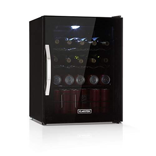 Klarstein Beersafe XL Onyx Getränkekühlschrank - Mini-Kühlschrank, Mini-Bar, 60 Liter, 0 bis 13 °C, LED-Innenbeleuchtung, nur 42 db, LED, 4 Metallroste, Glastür, sparsam, Onyx-schwarz
