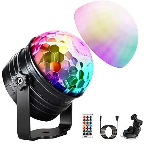LED Discokugel Kinder OMERIL Discolicht Musikgesteuert Disco Lichteffekte RGB Partylicht, Zeitgesteuertes USB Stimmungslicht mit 7 Farben, 4 Helligkeiten und Fernbedienung für Kinder, Zimmer, Party