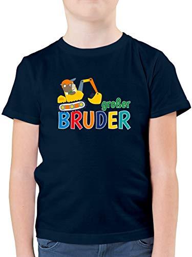 Geschwister Bruder und Schwester - Großer Bruder Bagger - 104 (3/4 Jahre) - Dunkelblau - grosser Bruder Tshirt Bagger - F130K - Kinder Tshirts und T-Shirt für Jungen