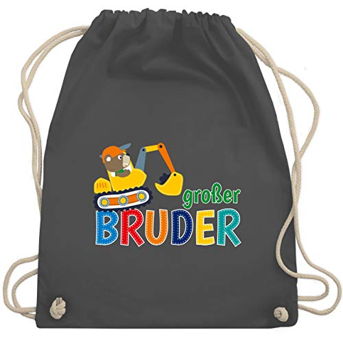 Shirtracer Geschwister Bruder und Schwester - Großer Bruder Bagger - Unisize - Dunkelgrau - turnbeutel bagger - WM110 - Turnbeutel und Stoffbeutel aus Baumwolle