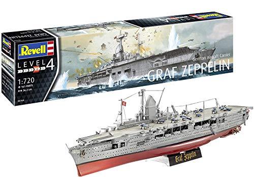 Revell Revell 05164 5164 5164 German Aircraft Carrier GRAF Zeppelin, Flugzeugträger originalgetreuer Modellbausatz für Fortgeschrittene, 1:720/36,2 cm, 1/720