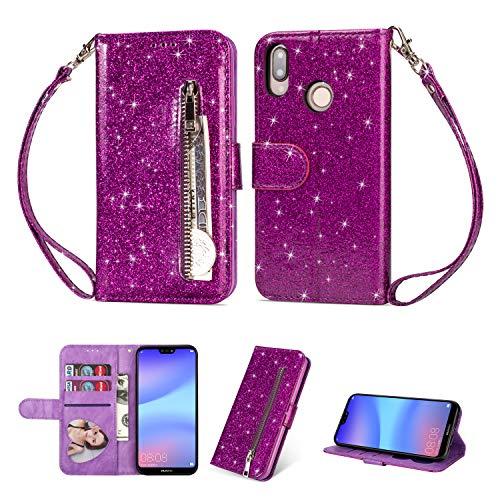 Ostop Glitzer Lila Hülle für Huawei P20 Lite,Bling Slim Reißverschluss Brieftasche Leder Handyhülle mit Kartenfach,Klappbar Stand Magnetisch Flip Stoßfest Schutzhülle für Huawei P20 Lite