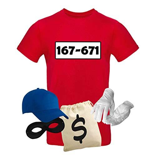 T-Shirt Panzerknacker Kostüm-Set Wunschnummer Cap Maske Karneval Herren XS - 5XL Fasching JGA Party Sitzung, Größe:4XL, Logo & Set:Standard-Nr./Set Deluxe+ (167-761/Shirt+Cap+Maske+Hands.+Beutel)