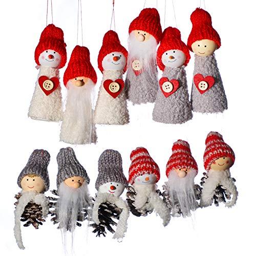 Shanke 12er Set Weihnachtswichtel Wichtel Christbaumanhänger Hängedekoration Weihnachtsschmuck Weihnachtsdeko Anhänge
