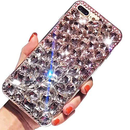 LCHDA Samsung Galaxy S8 Diamant Hülle,Handyhülle Samsung Galaxy S8 Glitzer Weiß Rosa Bunt Strass Bling Bling Case Glänzend Durchsichtig Kristall Steine Silikon Hardcase Schutzhülle