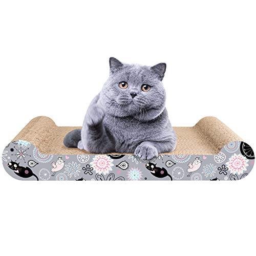 LIKEA Kratzbrett für Katzen,  Recycelbar Kratzpad Lounge Kratzmöbel, Qualitäts-Pappe +Katzenminze,44 X 24 X 7cm