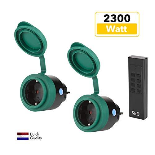 SEC24 - Funksteckdosen Set 2+1, für den Außenbereich/Outdoor, 2300 Watt, Plug & Play Funkschalt Set, Premium-Qualität, 24 monate garantie, schwarz/grün (matt), Spritzwassergeschützt - HAF780S