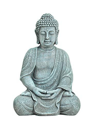 WOMA Deko Buddha Figur Sitzend aus Wetterfestem Magnesia, Dekoration für Haus, Wohnung und Garten, 30cm hoch, Skulptur für Innen und Außen, Grau